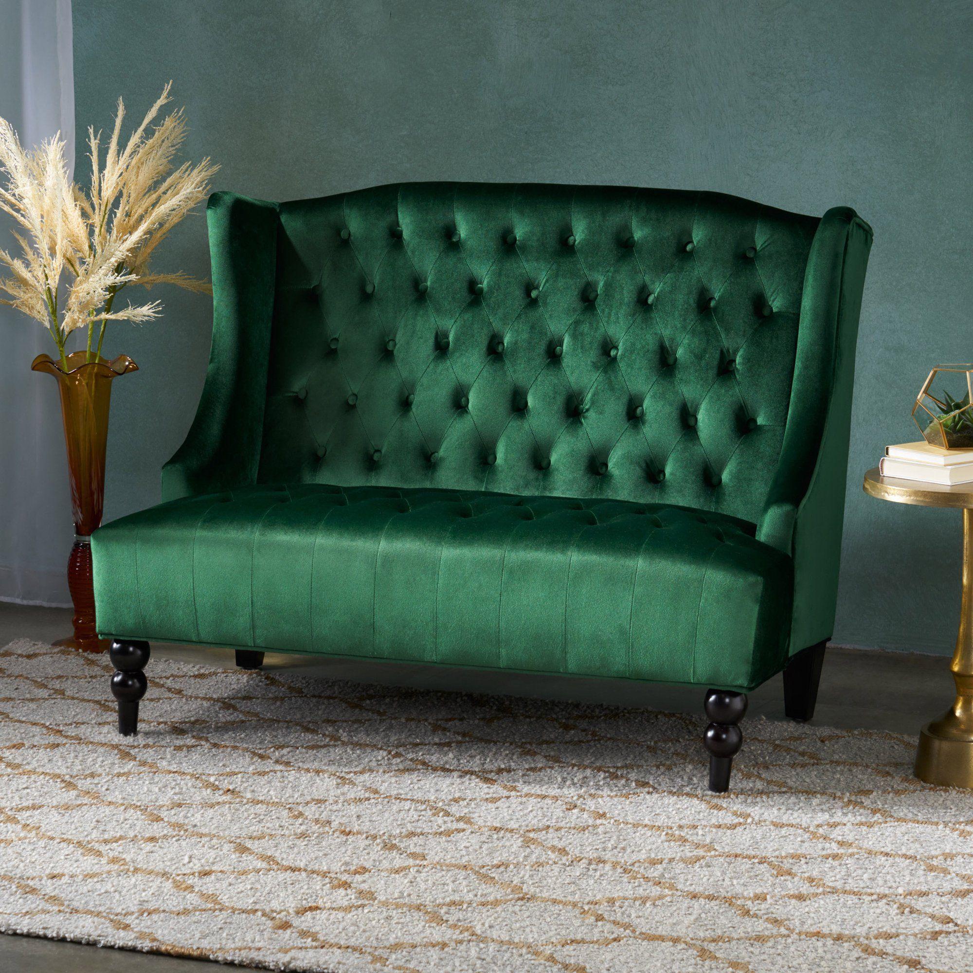 Noble House Lenore Traditional Tufted Winged Velvet