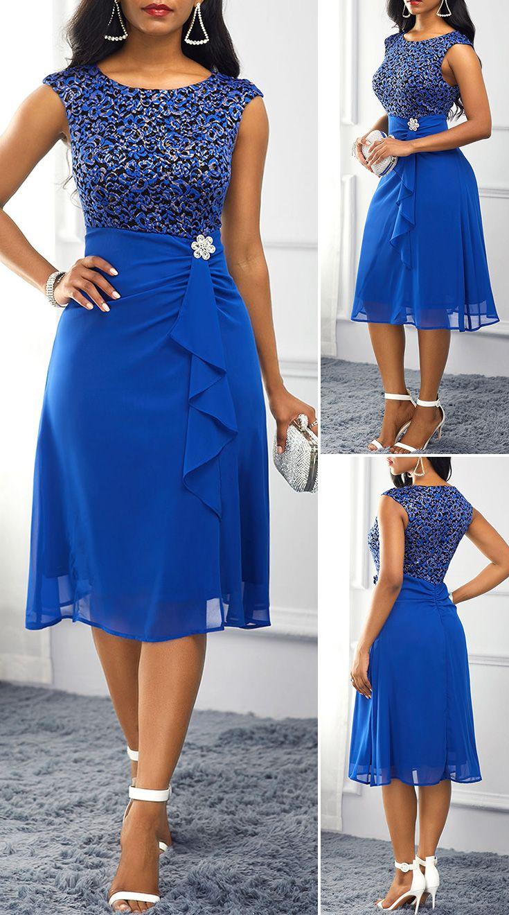 Royal Blue High Waist Rhinestone Embellished Dress