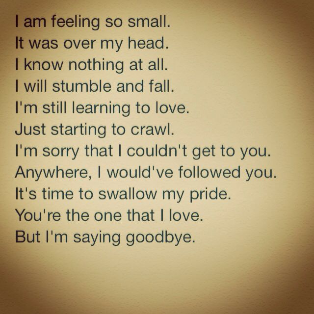 i am feeling so small. it was over my head. i know nothing at all. i will stumble and fall. i'm still learning to love. just starting to crawl. i'm sorry that i couldn't get to you. anywhere, i would've followed you. it's time to swallow my pride. you're the one that i love. but i'm saying goodbye