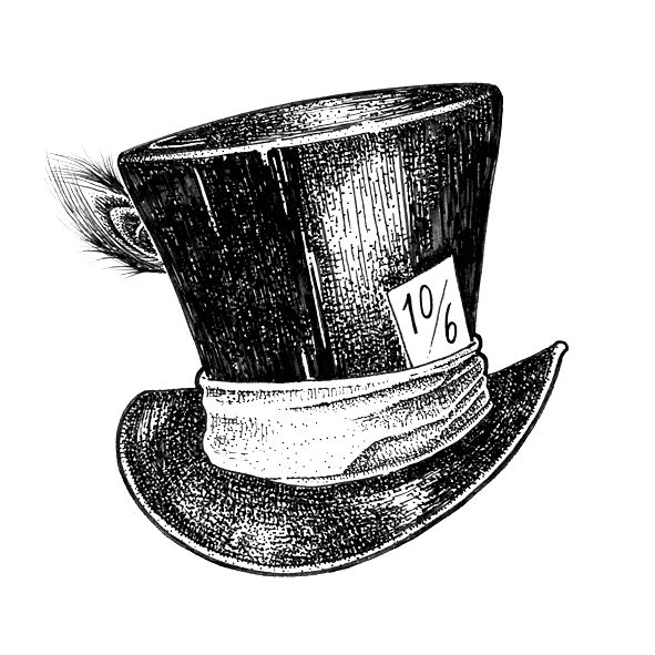 hand drawn mad hatters infamous hat by laura scribbles