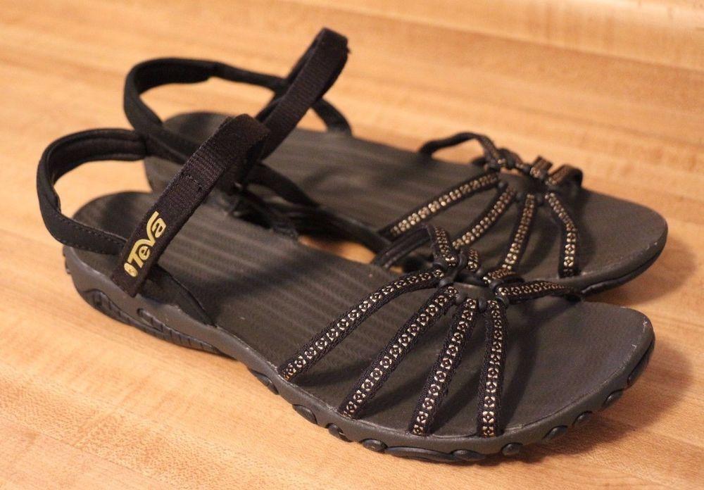 Teva Kayenta Studded Sport Sandals Metallic Black Strappy Womens 8  Adjustable  Teva  SportSandals  WalkingHiking ecabf8525e