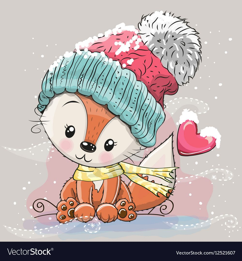 Cute Fox in a knitted cap vector image on VectorStock