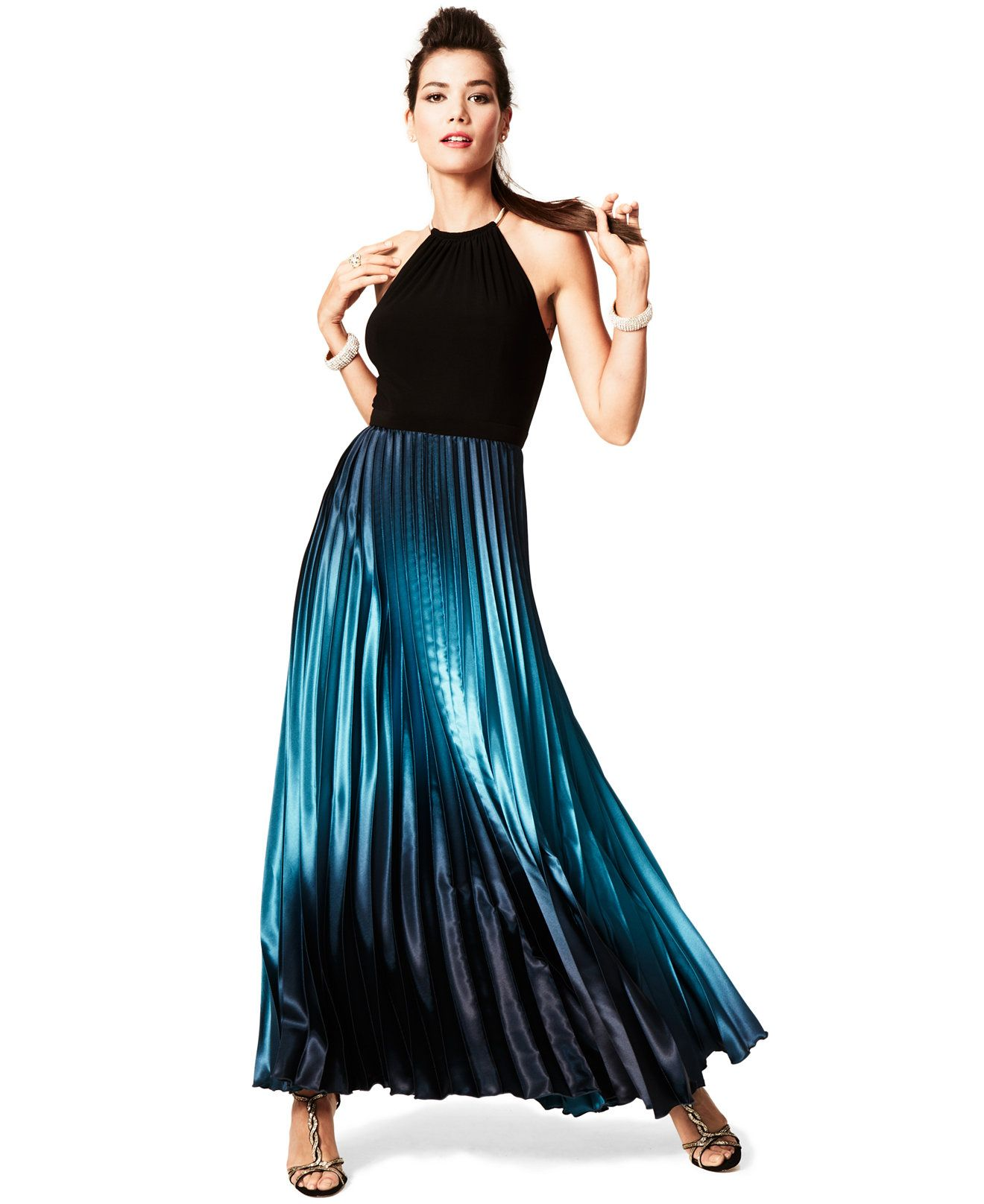 Xscape Sleeveless Ombre Halter Gown - Dresses - Women - Macy's ...