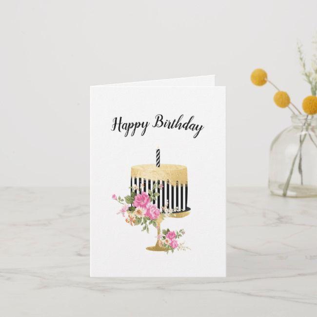 Elegant Birthday Card Zazzle Com Elegant Birthday Birthday Cards Custom Greeting Cards