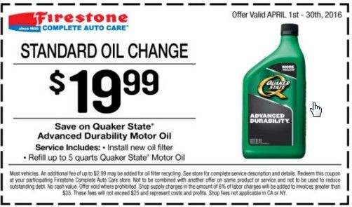 April 2016 Firestone Coupons, get an oil change for only $19.99 with this deal.