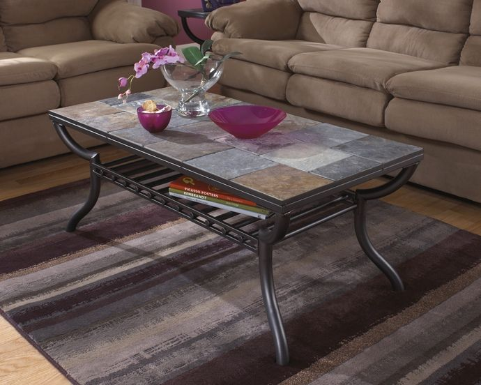 Antigo Collection Gun Metal Color Frame And Natural Slate Top Coffee Table