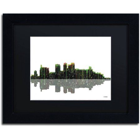 Trademark Fine Art Birmingham Alabama Skyline II Canvas Art by Marlene Watson Black Mat, Black Frame, Size: 11 x 14