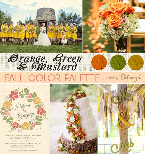 Orange, Moss Green , and Mustard Yellow Color Palette for a Fall Wedding in a Rustic, Modern Style | The Wedding Bistro at Bellenza. #rusticweddings #fallweddings #modernrusticweddings #fallweddingcolors
