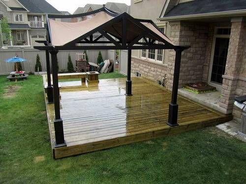 deck designs stylish backyard platform deck canopy design some factors to consider - Backyard Deck Designs
