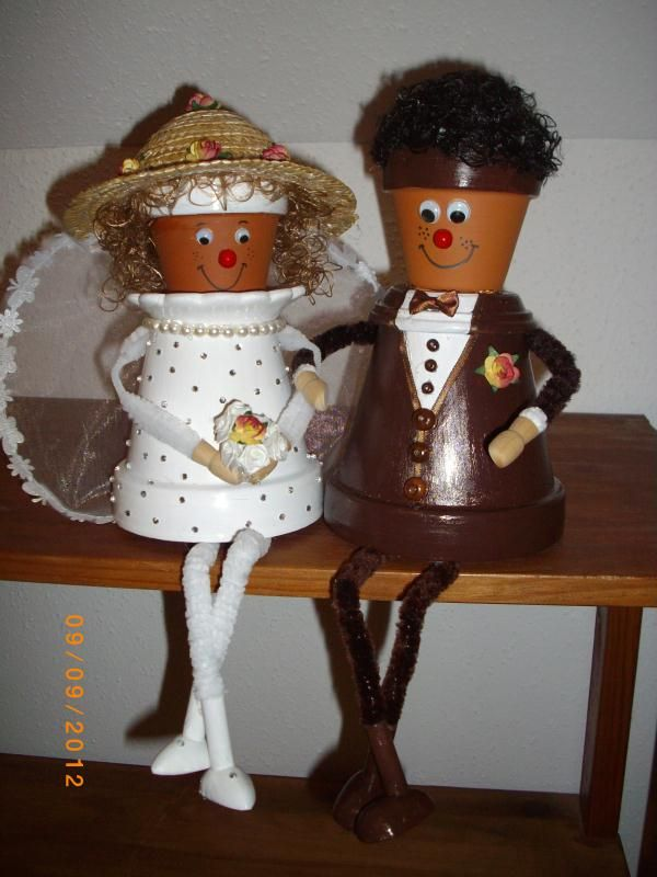 cr ation cadeau mariage couple de mari en pot de fleurs cr ation personnage en pot de. Black Bedroom Furniture Sets. Home Design Ideas