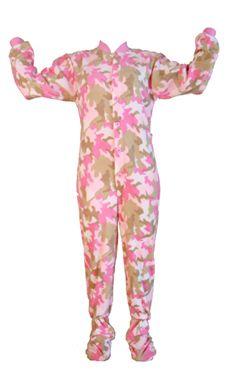 1e82d79dc1f Kids Big Feet Pajamas Pink Camouflage Fleece One Piece Footy