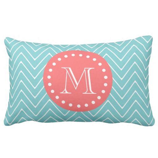 Teal And Coral Chevron With Custom Monogram Lumbar Pillow Zazzle Com Monogram Throw Pillow Monogram Pillows Throw Pillows