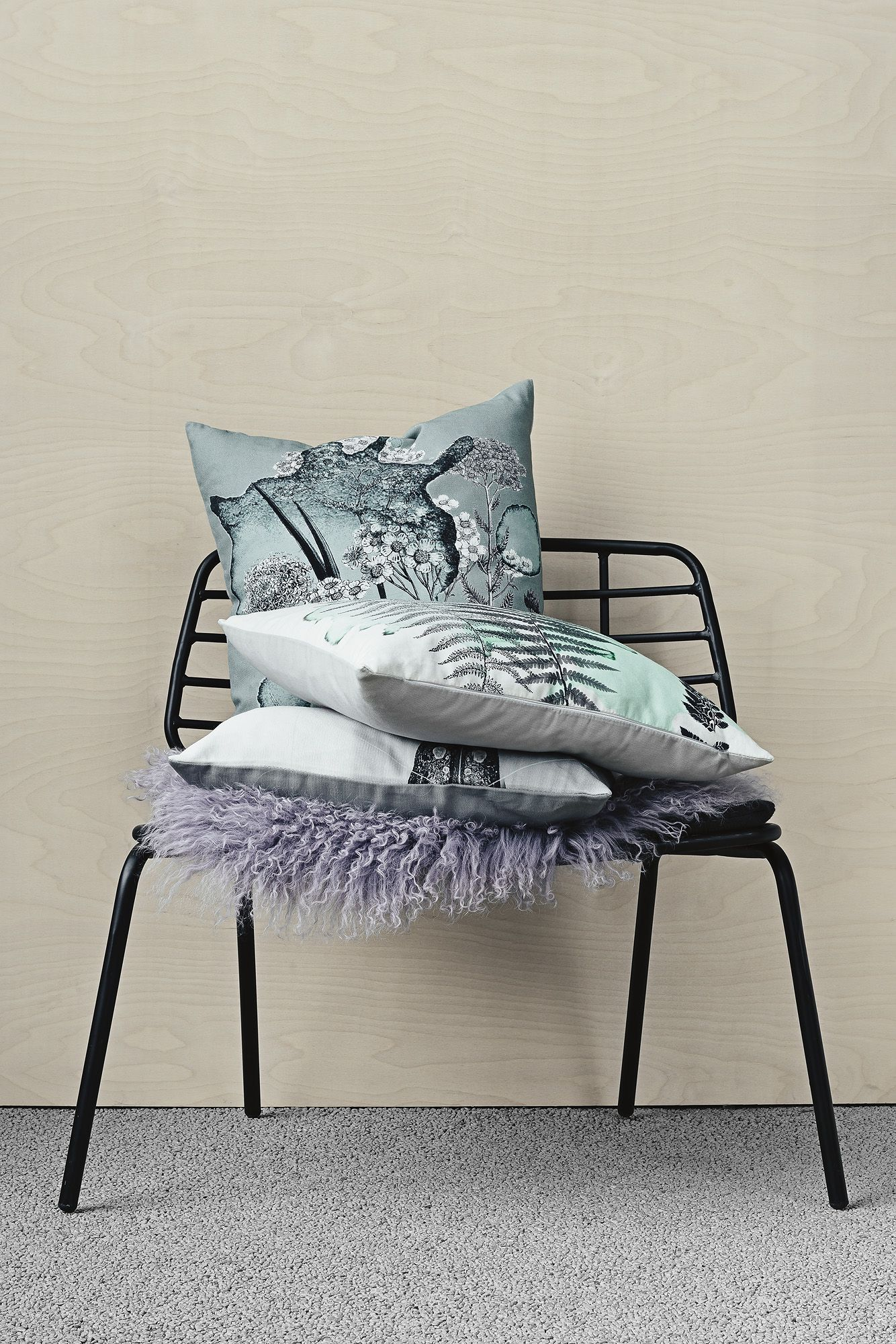 Beautiful Bloomingville Chair And Cushions With Botanical Prints.