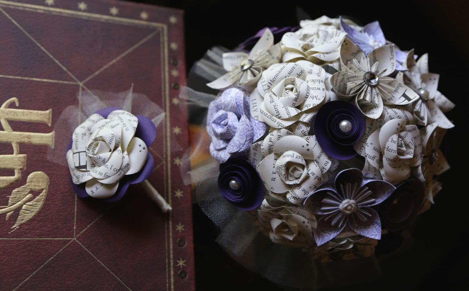 BrideGroom PAIR Matching Handmade Book Page Flower Wedding Bouquet