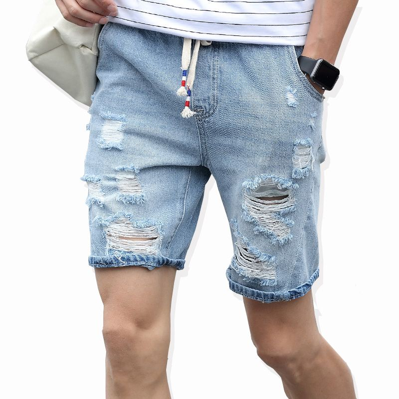 Fashion Men/'s Hole Destroyed Ripped Casual Jeans Knee Length Denim Pants Shorts