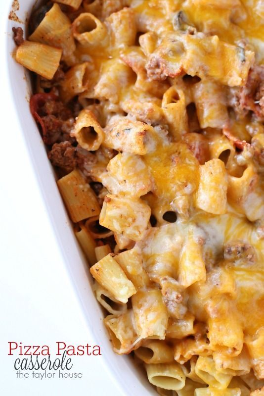 Delicious and easy to make Pizza Pasta Casserole!