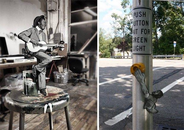 Inspiré par diverses étapes de sa vie, du skateboard au breakdance en passant par la paternité, l'artiste du New Jersey, Joe Iurato crée de minuscules figurines en bois et les met en situation dans des lieux publics.