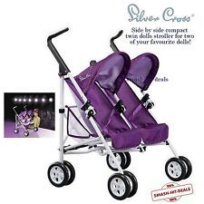 NEW! Silver Cross Pop Duo Junior Dolls Buggy Toy Twin Pram ...