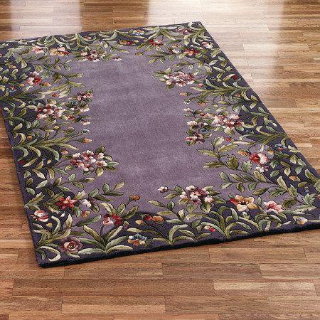 Felisha Floral Border Area Rugs Area Rugs Purple Area