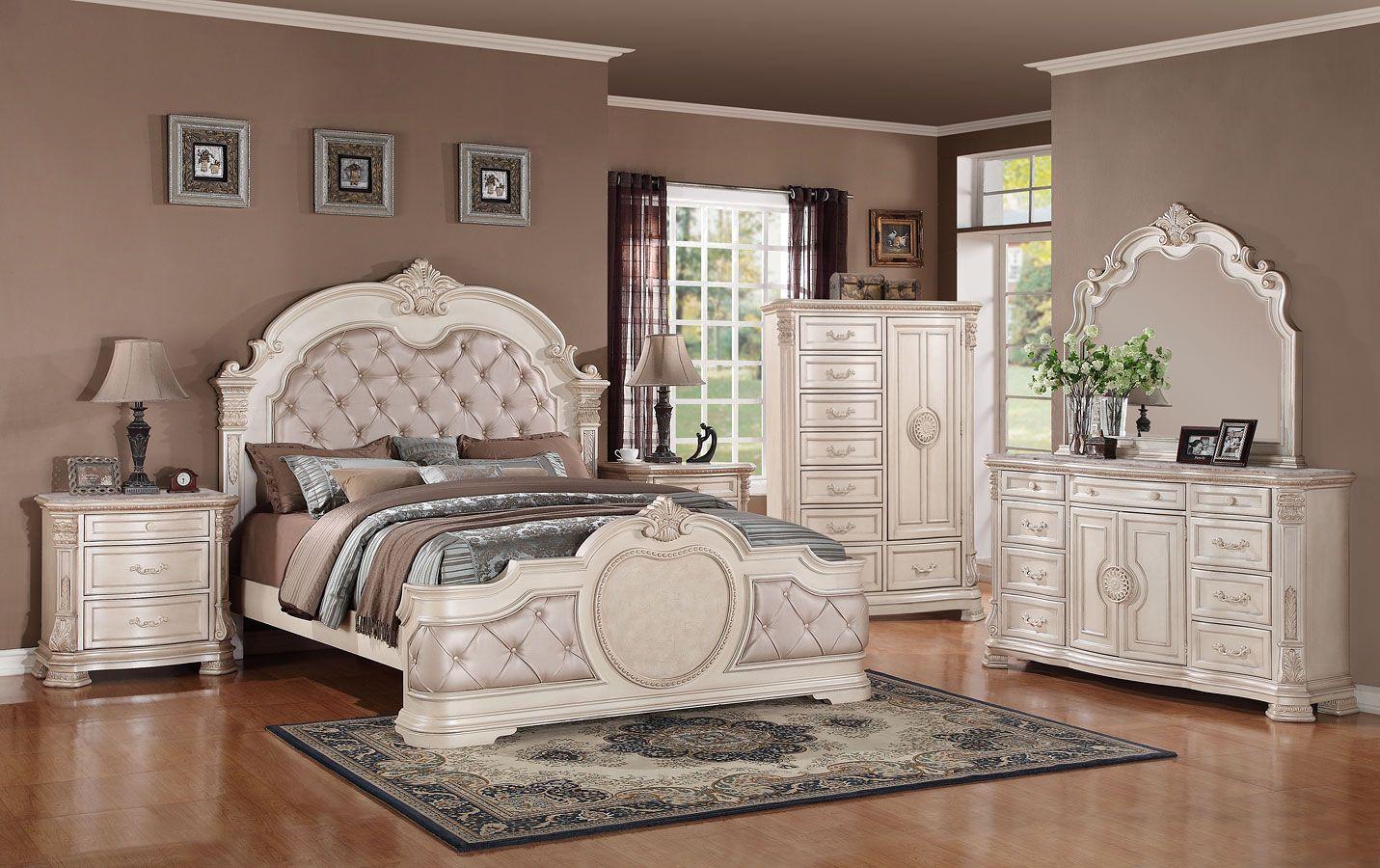 Infinity Panel Bedroom Set Antique White Luxury Bedroom Sets Antique Bedroom Set Vintage Bedroom Furniture Antique white bedroom sets
