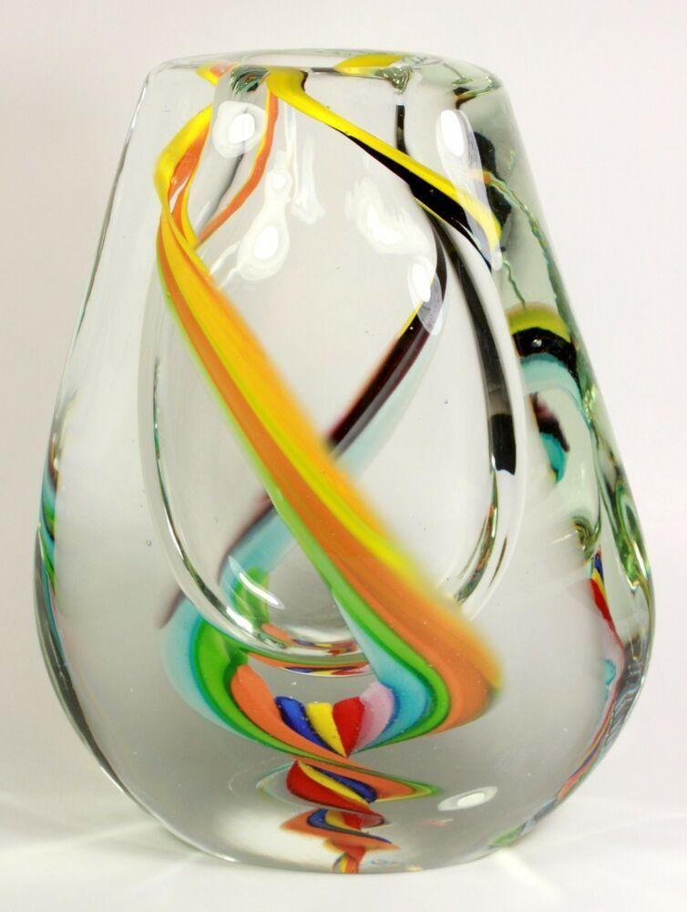 Murano Glass Vase Vintage Retro Ribbon Swirl Multicolor Marble Italian Art Glass Murano Glass Vase Art Glass Vase Glass Art