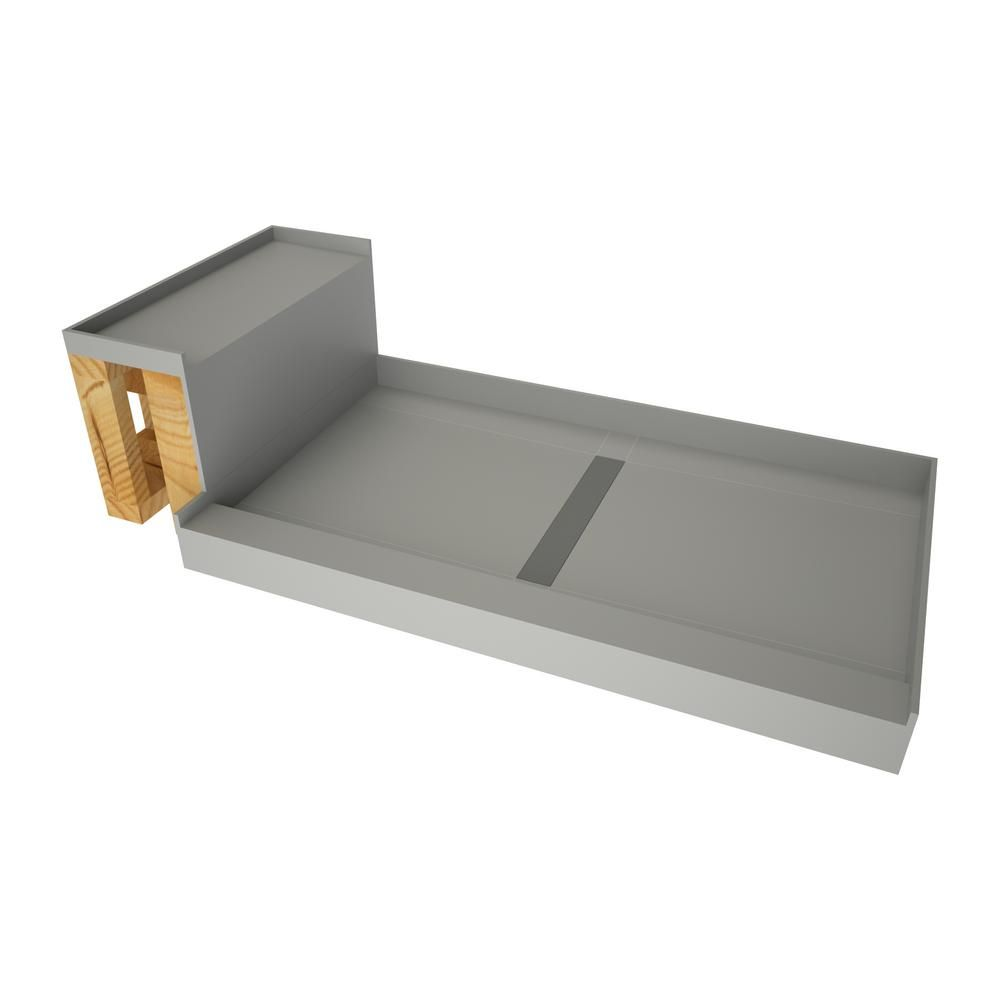 Tile Redi 34 In X 60 In Single Threshold Shower Base In Gray