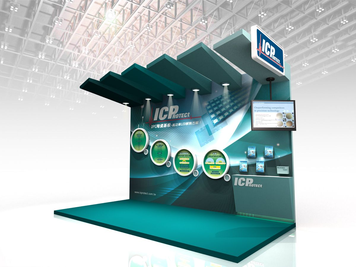 Exhibition Stand Height : Good use of height and visually dynamic back wall graphics icp