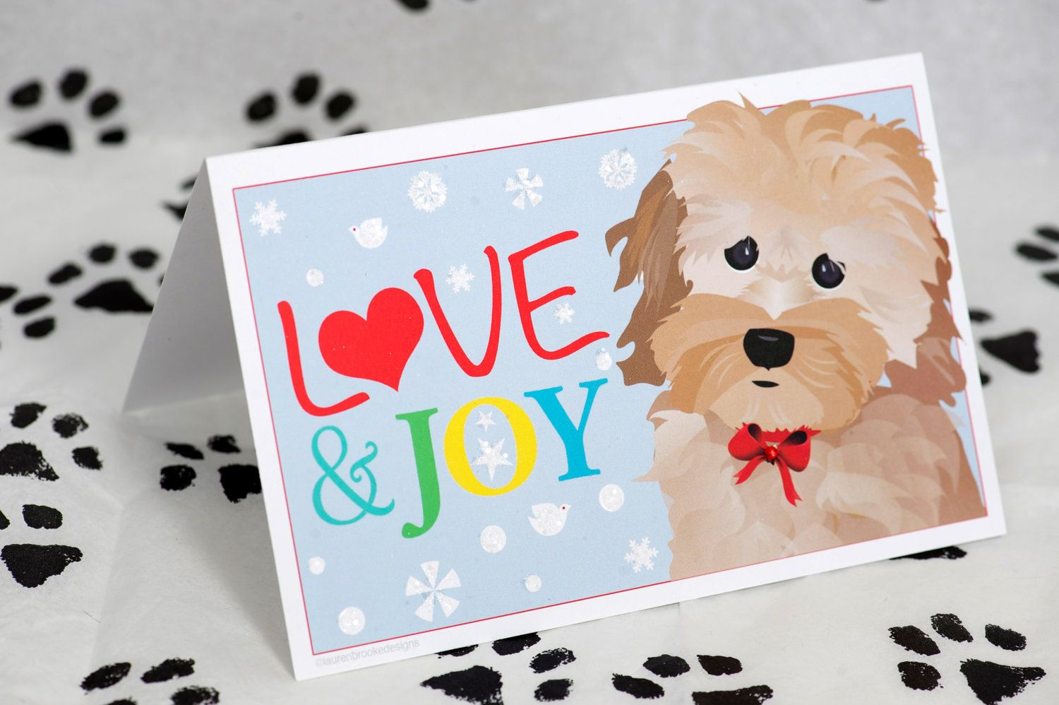 Cockapoo holiday card christmas, love & joy. 4.00, via