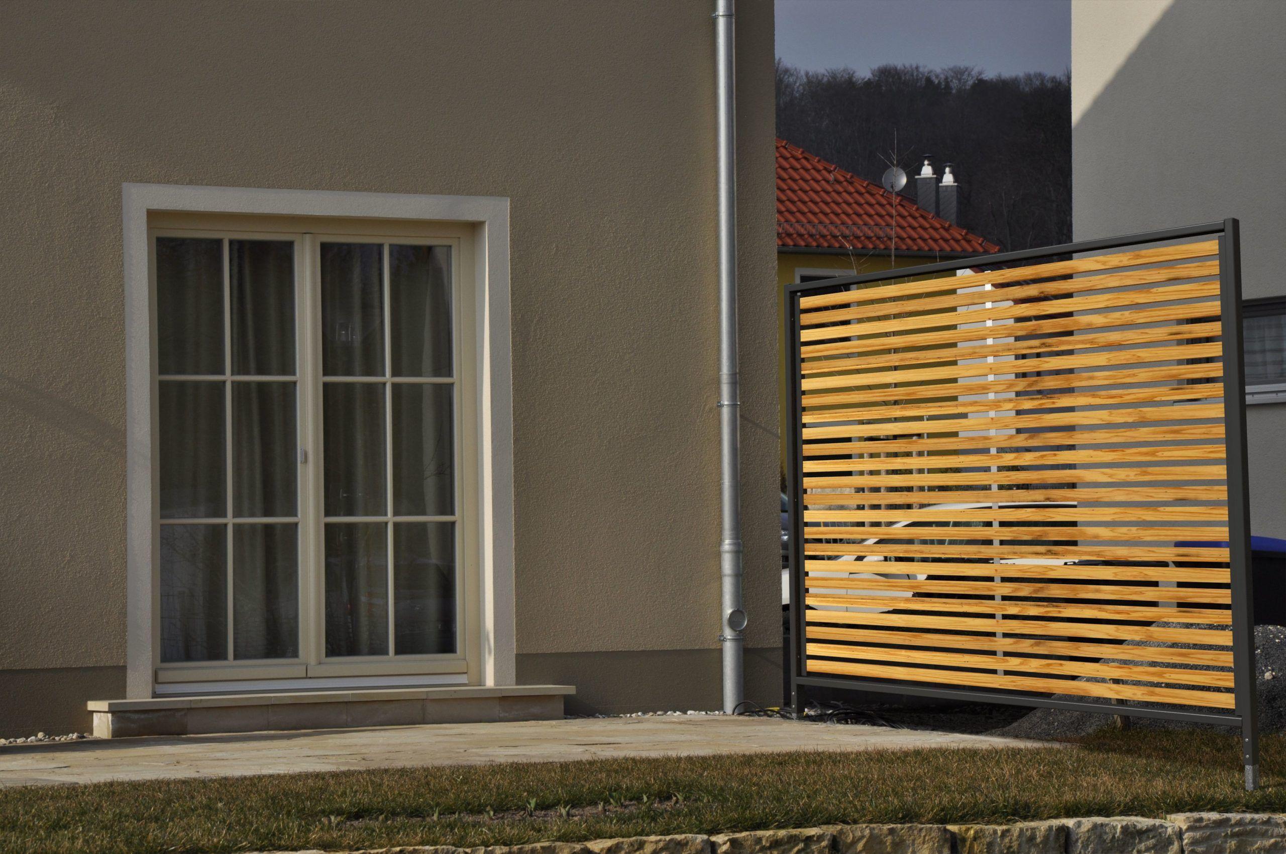 Sichtschutzelemente Larchenmetall Ral 7016 Sichtschutzelemente Sichtschutzzaun Balkon Holz