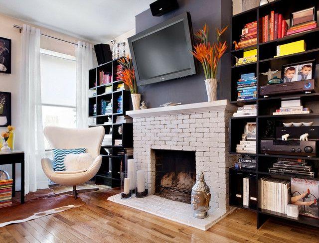 34 Ideen für Kamin und Fernseher an einer Wand Wohnzimmer Designs