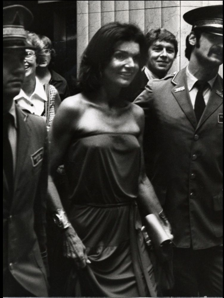 Jackie Onassis at a pre-game celebration for the Robert F. Kennedy Pro Celebrity Tennis Tournament in 1977.