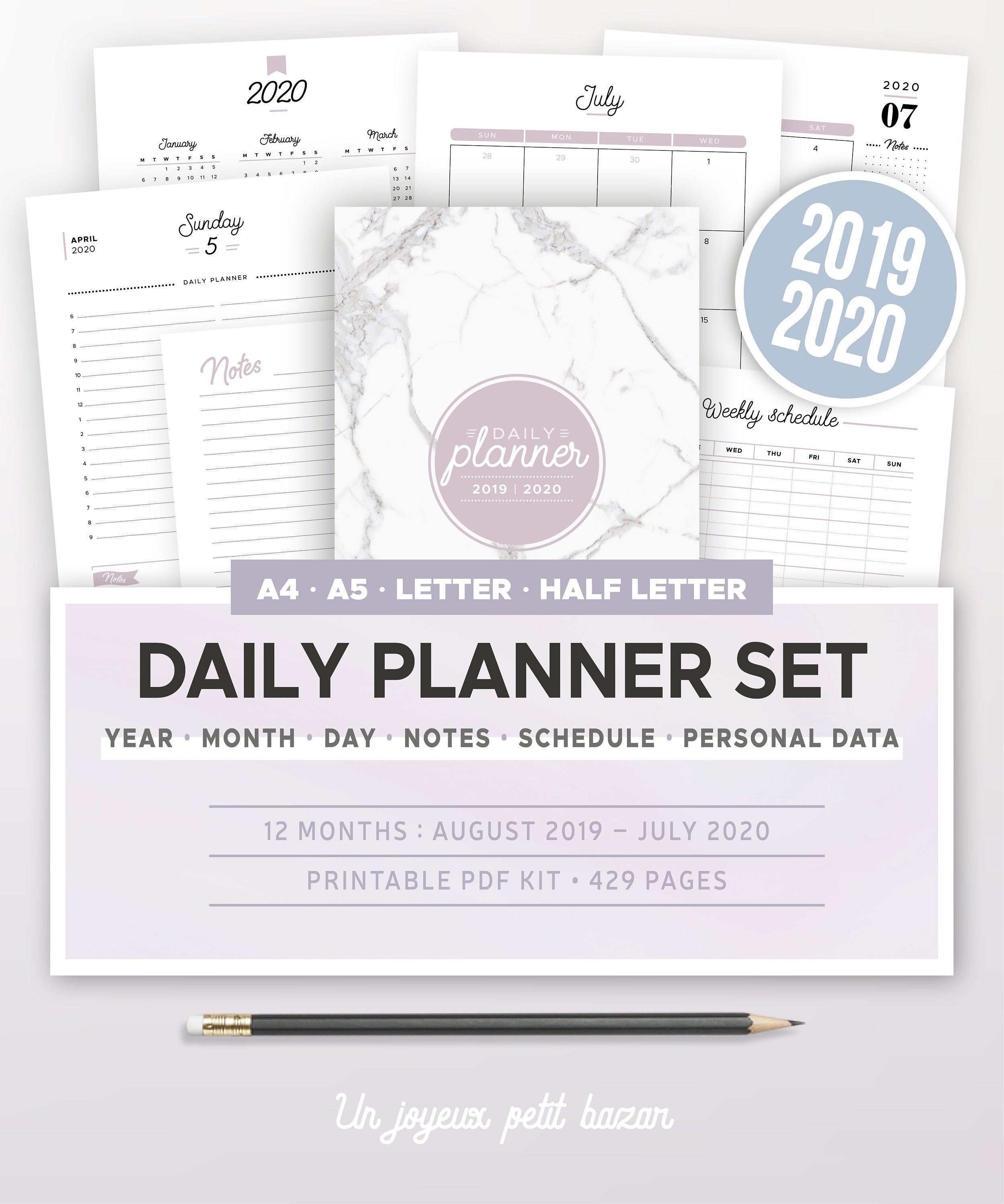 2019 2020 Daily Planner Kit Printable Yearly And Monthly Calendar Daily Agenda Schedule Inserts Planner A5 A4 Letter Half Size Semainier Agenda Et Agenda Journalier