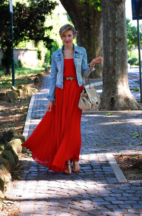 3c87688c99 belted red maxi dress + denim jacket