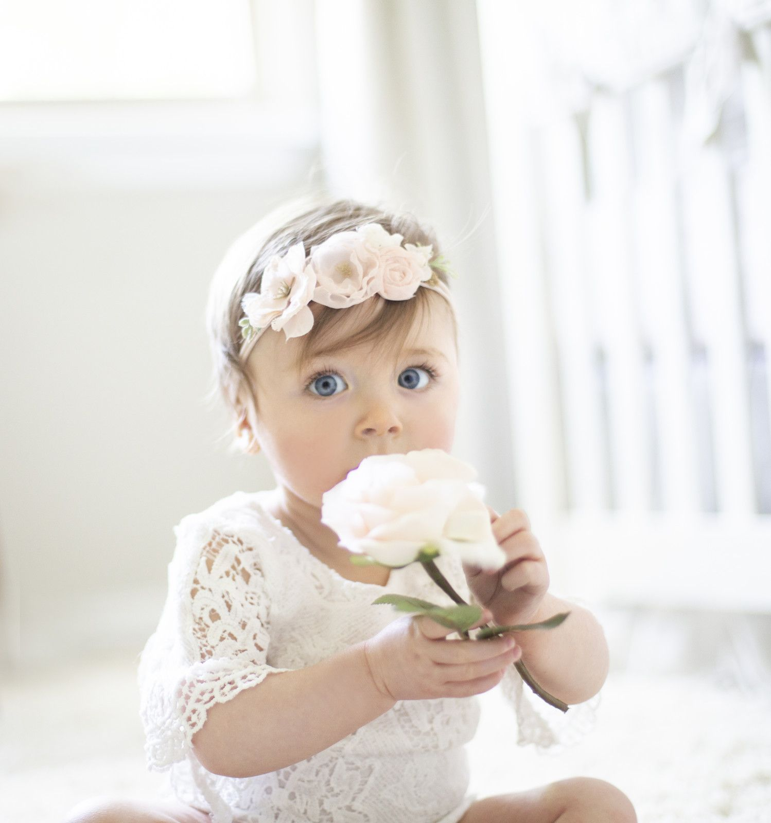 Baby girl pink flower headband  Baby white lace dress  One year
