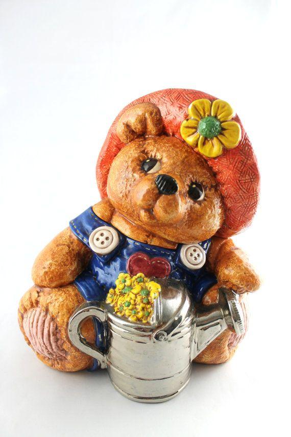 Cookie Jar Teddy Bear In Overalls With Watering Can And Hat Etsy Cookie Jars Vintage Cookie Jars Jar