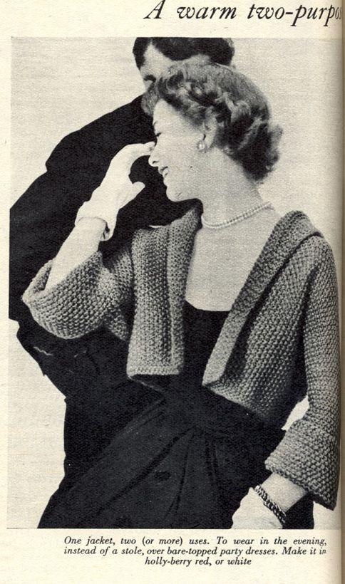 FREE Vintage 1950s Cropped Jacket Knitting Pattern | Knitting ...