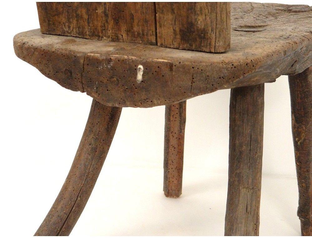 Rustic wooden stool stool french antique art Popular nineteenth century