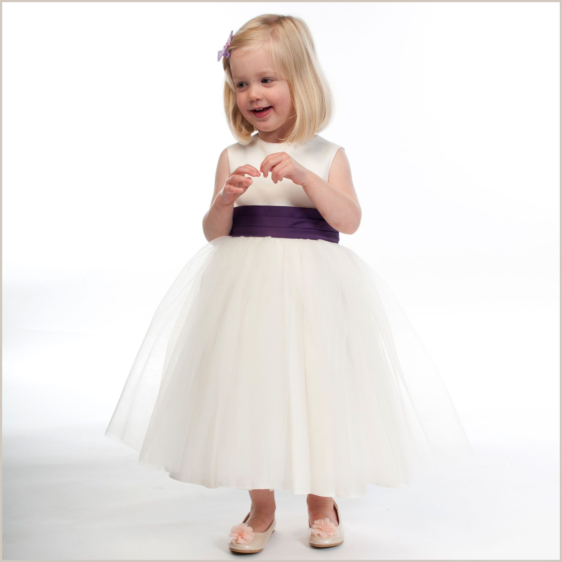 Vienna Ivory Tulle Dress With Purple Sash From Demigella