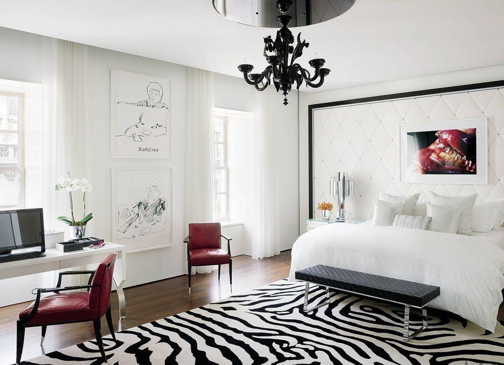zebra area rug. Spacious Chic Bedroom With Zebra Area Rug U