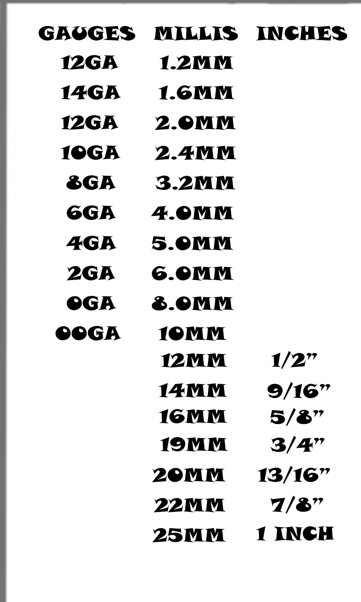 Ear gauge size chart actual also ink piercings rh pinterest