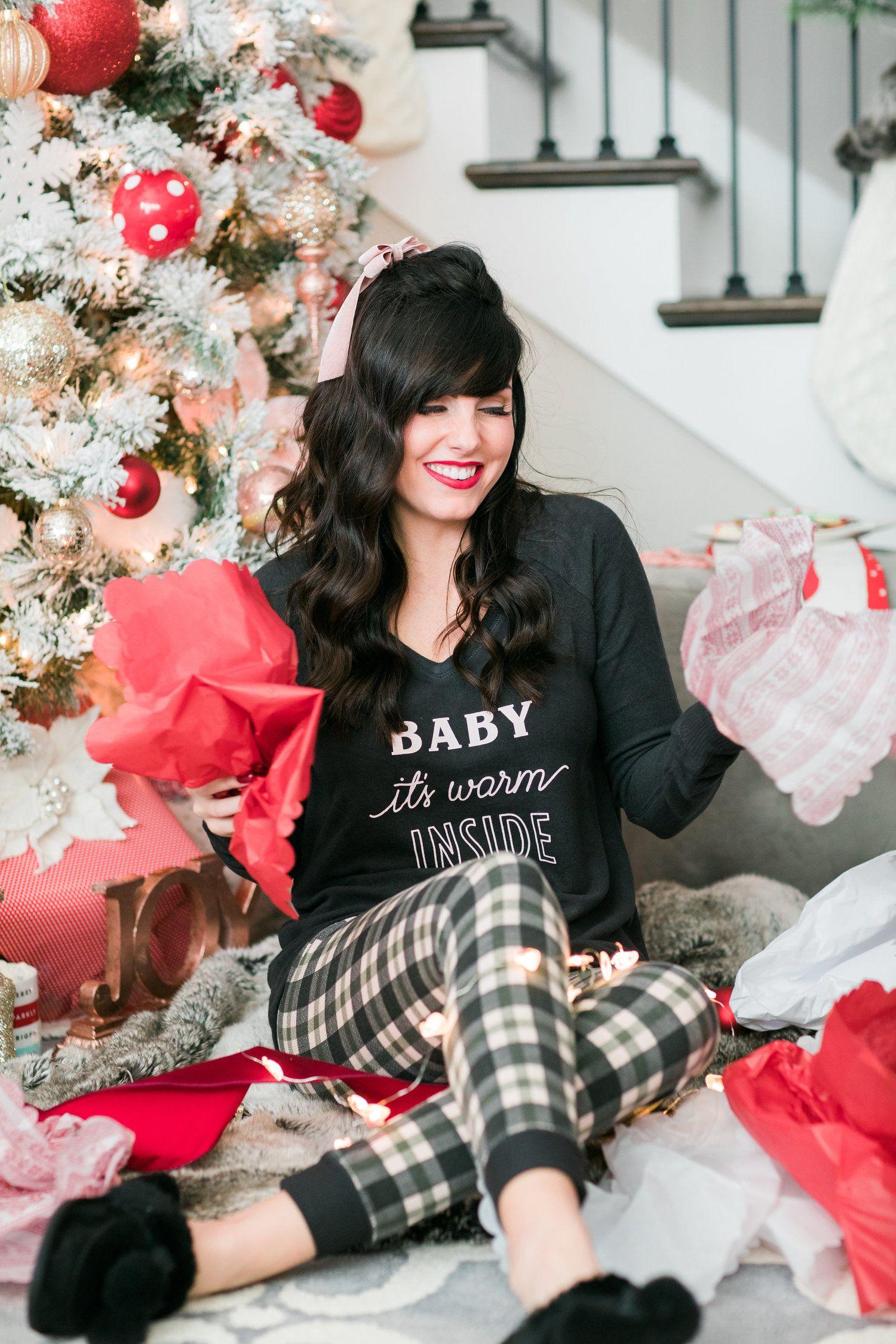 The Gift of Joy Womens christmas pajamas, Grey christmas
