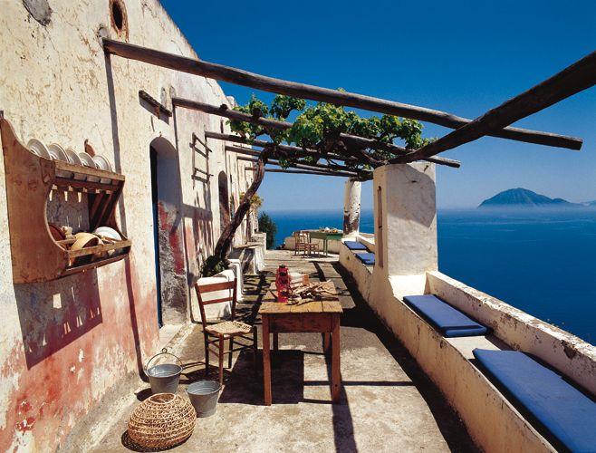 panorama from a house in Alicudi isle, Sicilia Italia