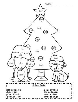 Christmas Sight Word Coloring Page Your Students Will Love Reviewing Eight Common Sight Words And Color Sight Word Coloring Christmas Kindergarten Sight Words