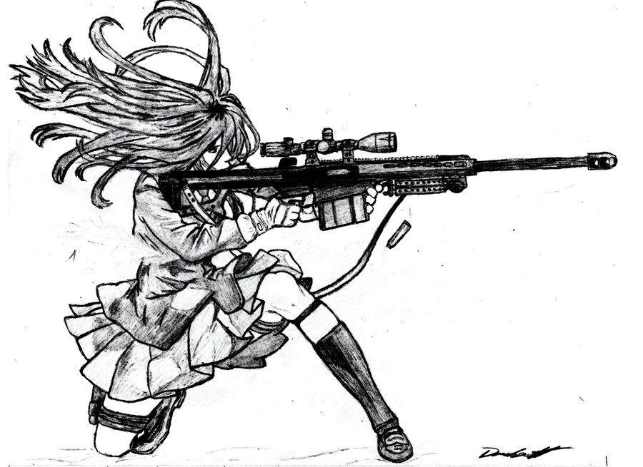 Anime Girl with Barrett 50 Cal | Anime girl sketch in 2019