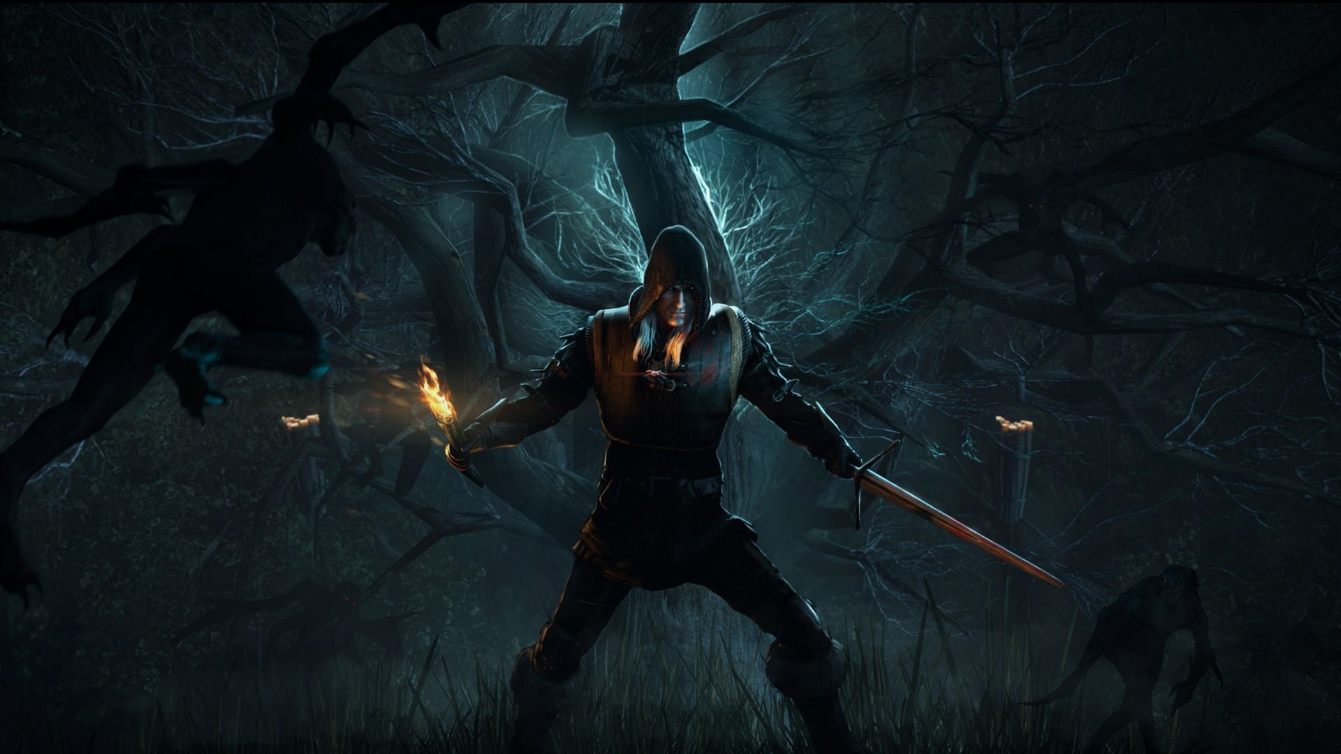 Wallpaper the witcher 3 geralt alone forest 1920x1080