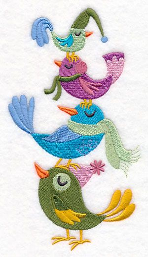 Winter Bird Stack 4x7 Machine Embroidery Designs At Embroidery