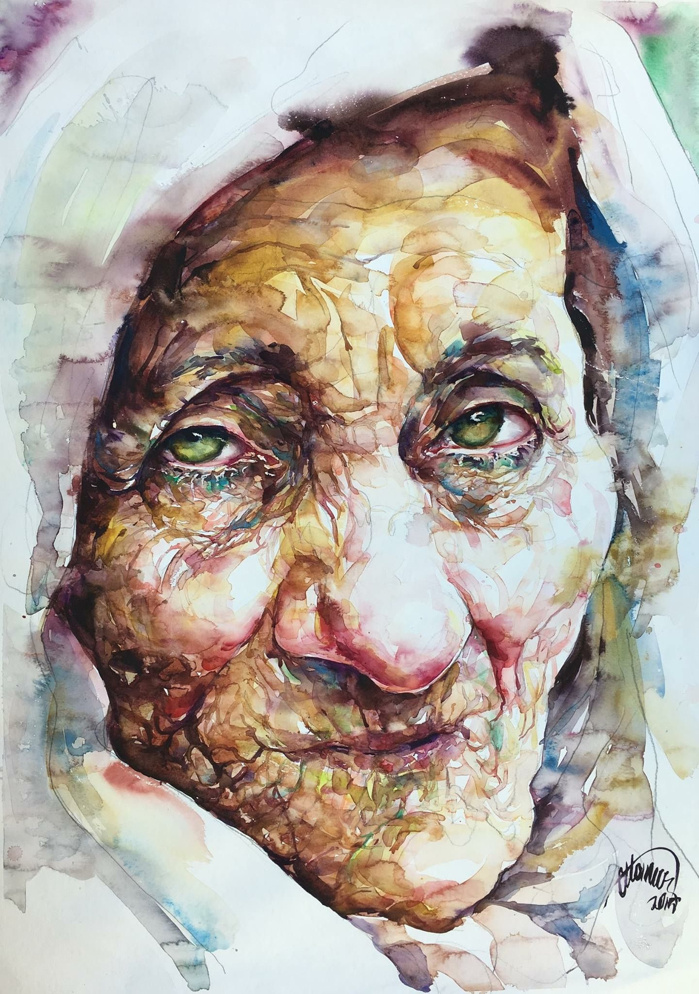 Old Rreen Ayes By Atanur Dogan Watercolor Face Portrait Art
