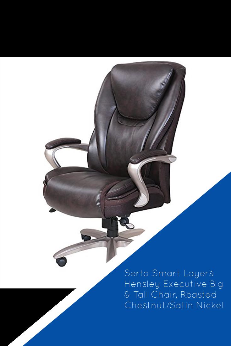 Serta Smart Layers Hensley Executive Big Tall Chair Roasted Chestnut Satin Nickel Hot Tall Chairs Serta Satin Nickel