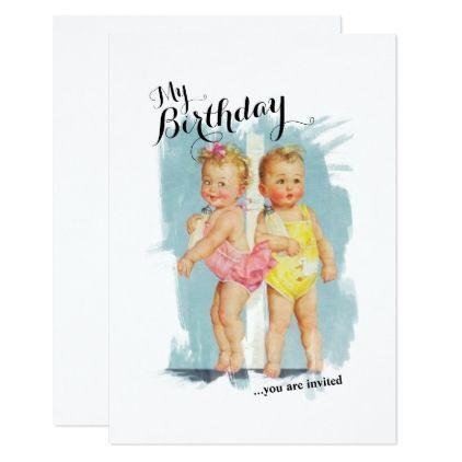Vintage Customisable Childs Birthday Invite birthday cards – Invite Birthday Card