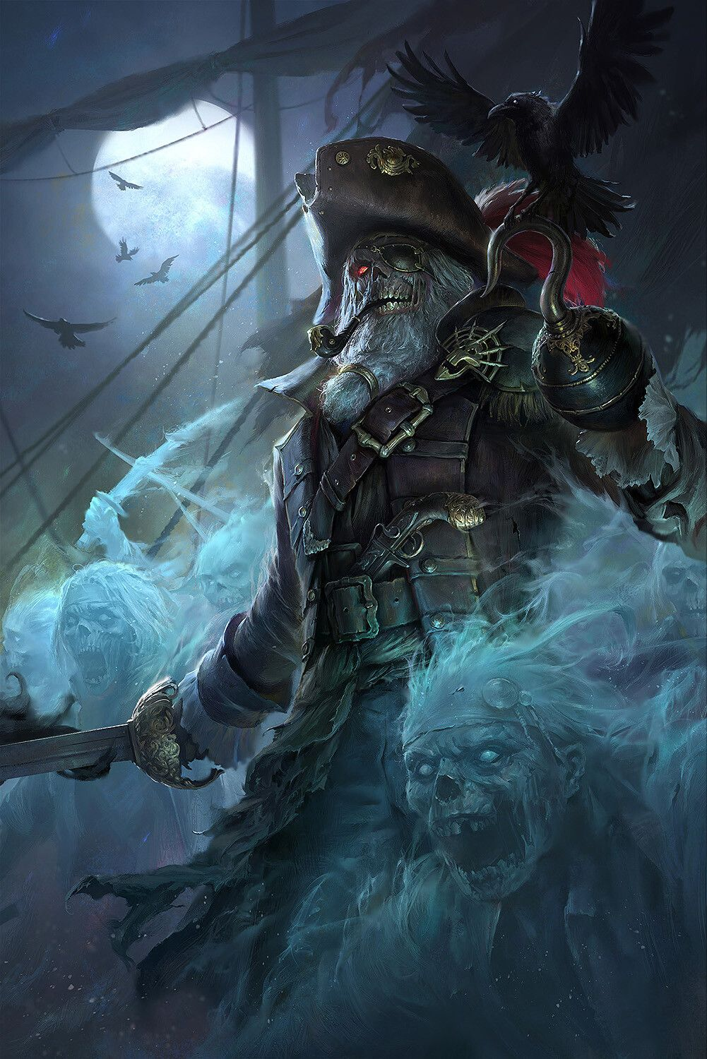 Ghost Pirate |Drake 幽靈船長, Francis Tneh on ArtStation at  https://www.artstation.com/artwork/1nYdwG | Dark fantasy art, Pirate art, Fantasy  art